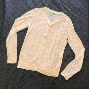 LOFT Cream Beige Floral Cardigan